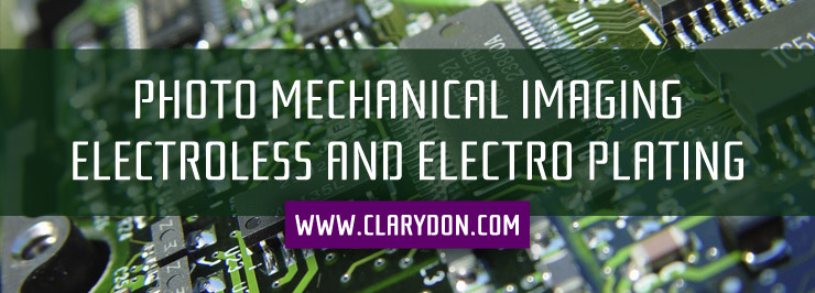 Photo mechanical imaging, electroless and electro plating